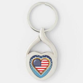 Coração americano chaveiro coração torcido cor prata