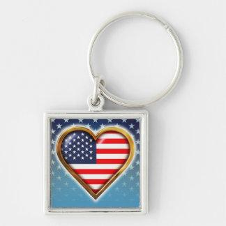 Coração americano chaveiro quadrado na cor prata