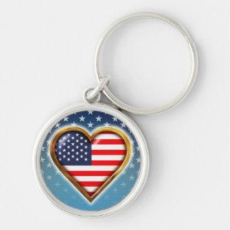 Coração americano chaveiro redondo na cor prata