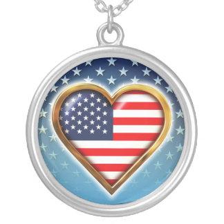 Coração americano colar com pendente redondo