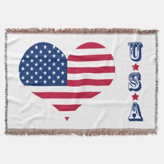 Coração americano dos EUA da bandeira de América Manta