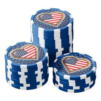 Coração americano fichas de pôquer