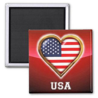 Coração americano imãs de refrigerador