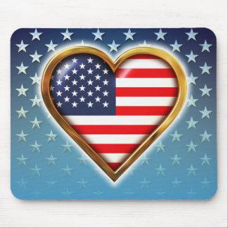 Coração americano mouse pad