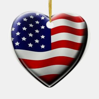 Coração americano ornamento de cerâmica coração