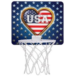 Coração americano mini cesta de basquete