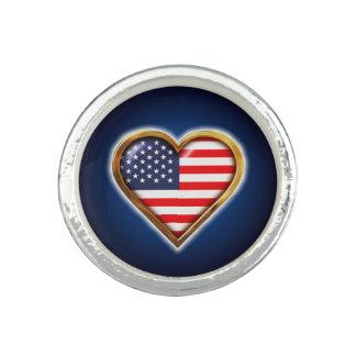 Coração americano anel com foto