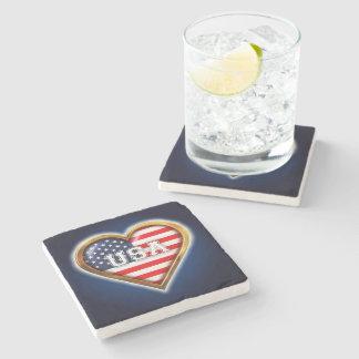 Coração americano porta copos de pedras