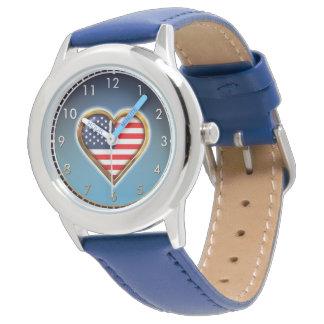 Coração americano relógio de pulso