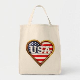 Coração americano sacola tote de mercado