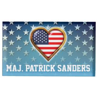 Coração americano suportes para cartão de mesa