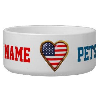 Coração americano tijela para água para cachorros