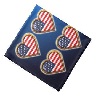 Coração americano pano para cabeça