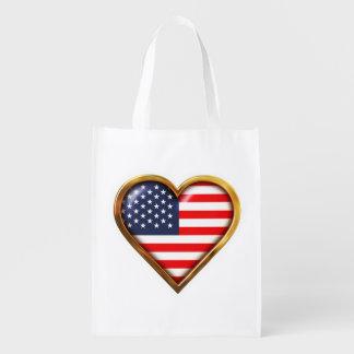 Coração americano sacolas ecológicas para supermercado