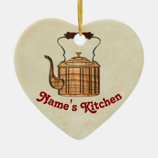 CORAÇÃO antiquado da chaleira do cobre da cozinha Ornamento De Cerâmica