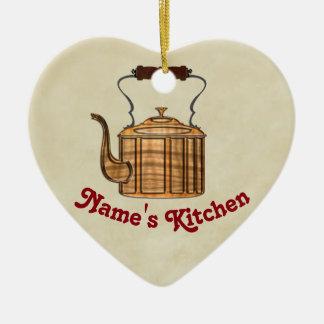 CORAÇÃO antiquado da chaleira do cobre da cozinha Ornamento De Cerâmica Coração