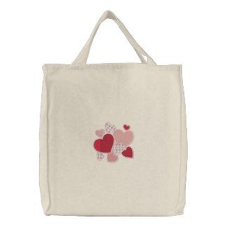 Coração ao coração bolsa bordada