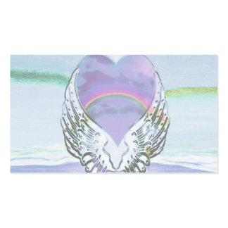 Coração, asas do anjo & oceano cartão de visita