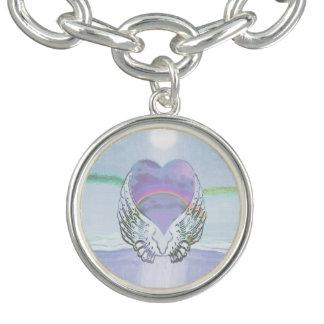 Coração, asas do anjo & oceano charm bracelets