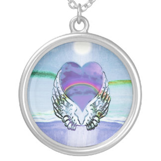 Coração, asas do anjo & oceano colar com pendente redondo