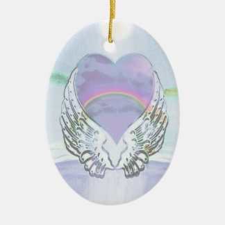 Coração, asas do anjo & oceano ornamento de cerâmica oval