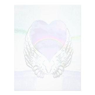 Coração, asas do anjo & oceano papel timbrado