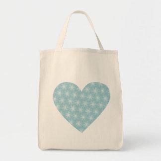 Coração azul bonito sacola tote de mercado
