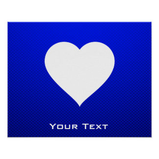 Coração azul branco pôsteres