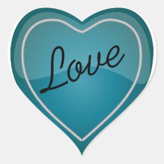 Coração azul brilhante de turquesa do amor adesivo coração