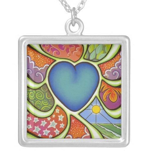 Coração azul da colar do coração do amor