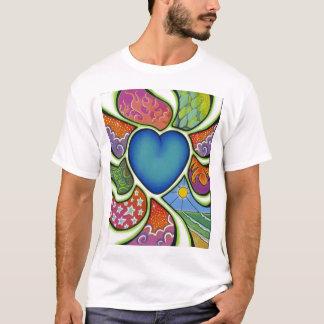 Coração azul do amor… camiseta