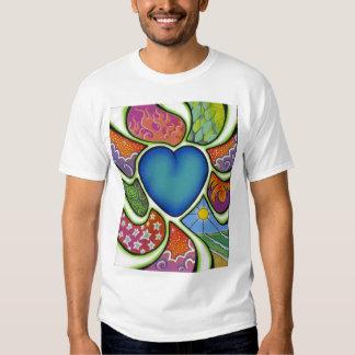 Coração azul do amor… camisetas