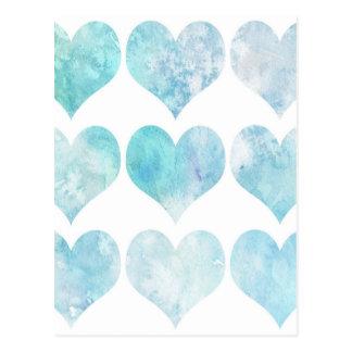 Coração azul do amor do Watercolour Cartão Postal