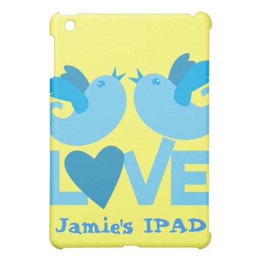 Coração azul do amor dos pássaros do amor capas para iPad mini