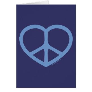 Coração azul do amor, sinal de paz cartão comemorativo
