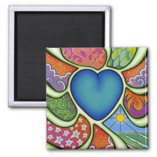 Coração azul do ímã do amor ímã quadrado