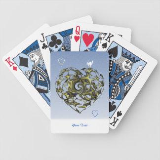 Coração azul e amarelo do amor cartas de baralhos