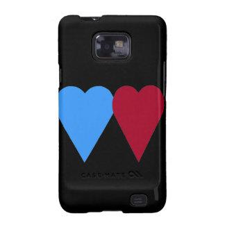 Coração azul e vermelho do amor capa para galaxy s2