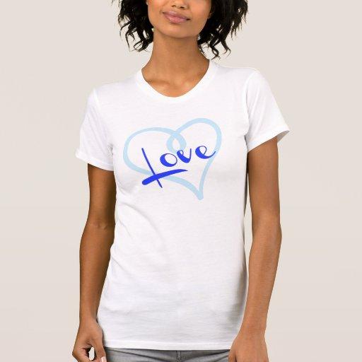 Coração azul enchido com o AMOR! Tshirts
