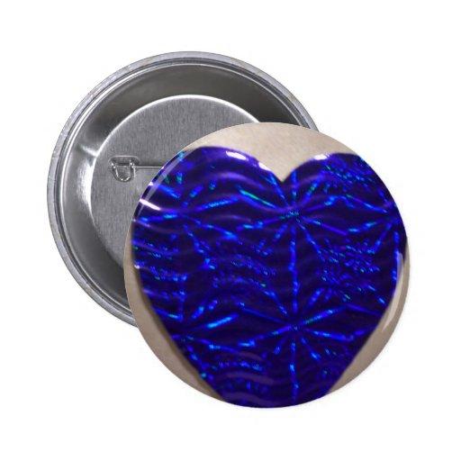 Coração azul grande do amor botons