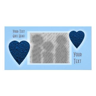 Coração azul. Projeto modelado do coração Cartão Com Foto