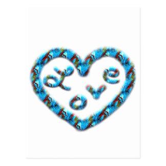 Coração Azul-Vermelho do redemoinho com amor Cartao Postal