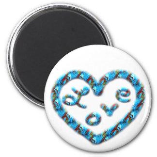 Coração Azul-Vermelho do redemoinho com amor Ímã Redondo 5.08cm