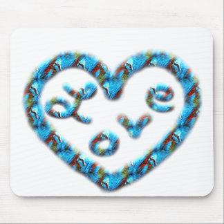 Coração Azul-Vermelho do redemoinho com amor Mousepad