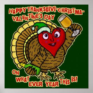 Coração bêbedo de Turquia do feriado engraçado Póster