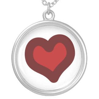 Coração bonito colar com pendente redondo