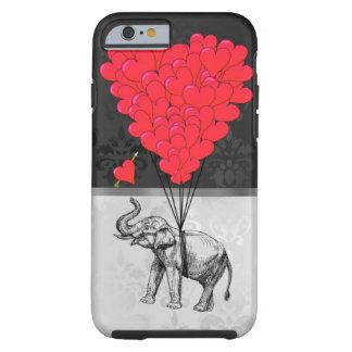 Coração bonito do elefante e do amor em cinzas capa tough para iPhone 6