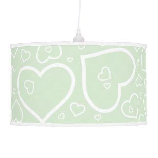 Coração bonito verde macio modelado da lâmpada de