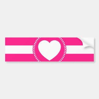 Coração branco bonito no círculo Scalloped no rosa Adesivo Para Carro