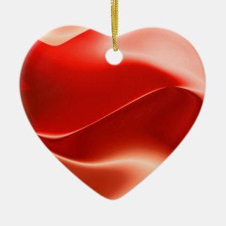 coração branco vermelho ornamento de cerâmica coração